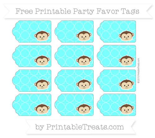 Free Aqua Blue Quatrefoil Pattern Boy Monkey Party Favor Tags