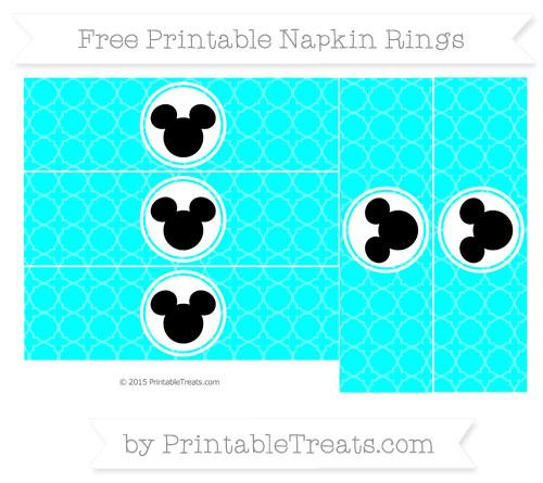 Free Aqua Blue Quatrefoil Pattern Mickey Mouse Napkin Rings