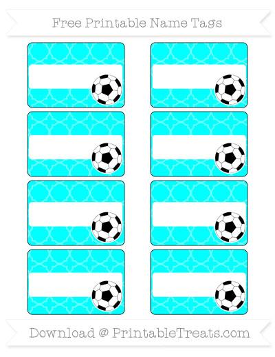Free Aqua Blue Quatrefoil Pattern Soccer Name Tags