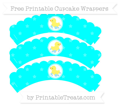 Free Aqua Blue Star Pattern Baby Duck Scalloped Cupcake Wrappers
