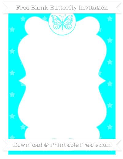 Free Aqua Blue Star Pattern Blank Butterfly Invitation