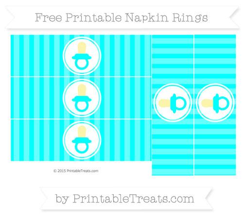 Free Aqua Blue Striped Baby Pacifier Napkin Rings