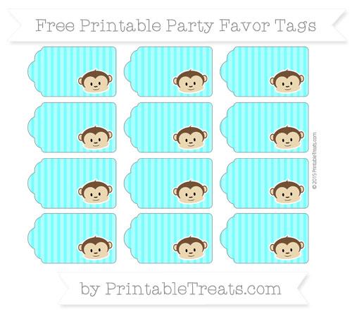 Free Aqua Blue Thin Striped Pattern Boy Monkey Party Favor Tags