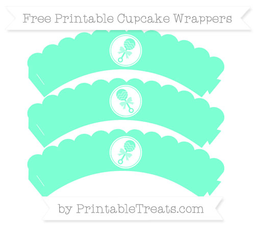 Free Aquamarine Baby Rattle Scalloped Cupcake Wrappers