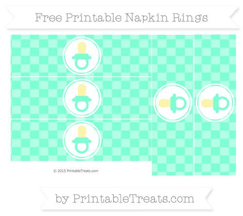 Free Aquamarine Checker Pattern Baby Pacifier Napkin Rings