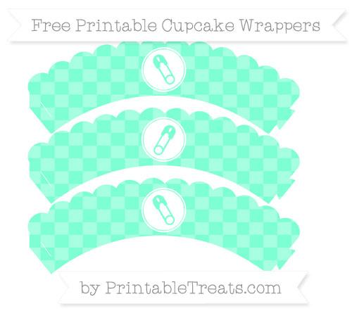 Free Aquamarine Checker Pattern Diaper Pin Scalloped Cupcake Wrappers