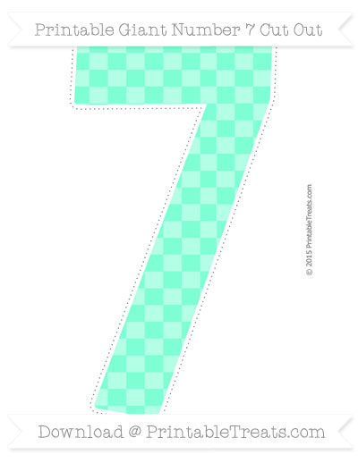 Free Aquamarine Checker Pattern Giant Number 7 Cut Out