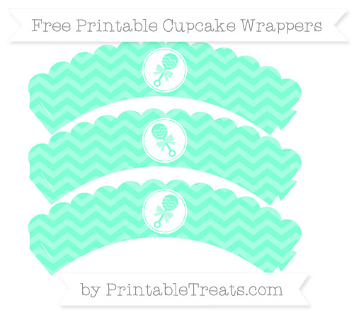 Free Aquamarine Chevron Baby Rattle Scalloped Cupcake Wrappers