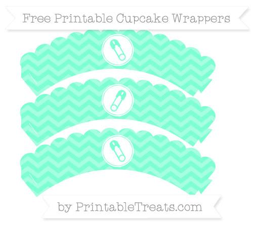 Free Aquamarine Chevron Diaper Pin Scalloped Cupcake Wrappers