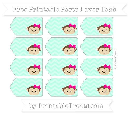 Free Aquamarine Chevron Girl Monkey Party Favor Tags