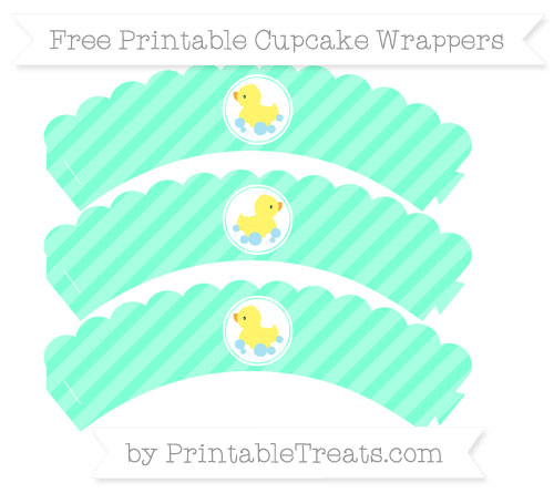 Free Aquamarine Diagonal Striped Baby Duck Scalloped Cupcake Wrappers