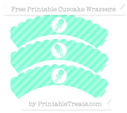 Free Aquamarine Diagonal Striped Baby Rattle Scalloped Cupcake Wrappers