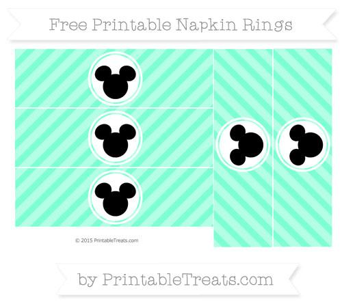 Free Aquamarine Diagonal Striped Mickey Mouse Napkin Rings
