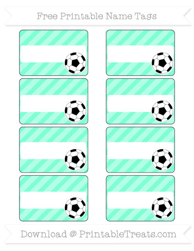 Free Aquamarine Diagonal Striped Soccer Name Tags