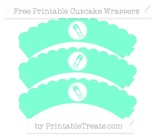 Free Aquamarine Diaper Pin Scalloped Cupcake Wrappers