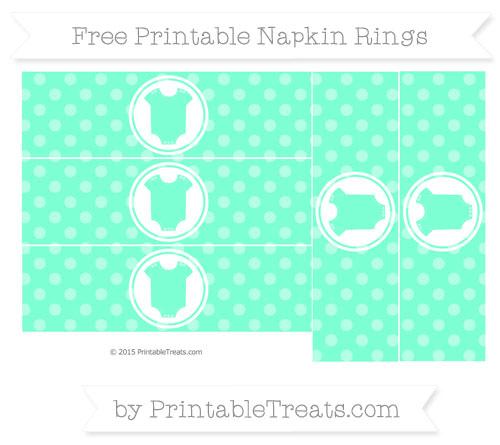 Free Aquamarine Dotted Pattern Baby Onesie Napkin Rings