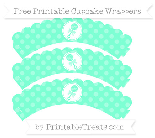 Free Aquamarine Dotted Pattern Baby Rattle Scalloped Cupcake Wrappers