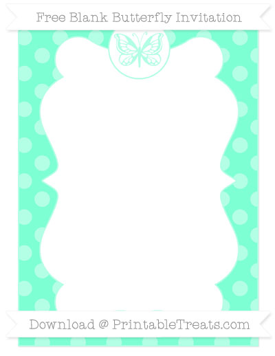 Free Aquamarine Dotted Pattern Blank Butterfly Invitation