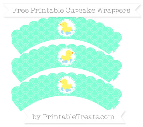 Free Aquamarine Fish Scale Pattern Baby Duck Scalloped Cupcake Wrappers