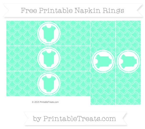 Free Aquamarine Fish Scale Pattern Baby Onesie Napkin Rings