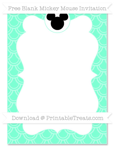 Free Aquamarine Fish Scale Pattern Blank Mickey Mouse Invitation