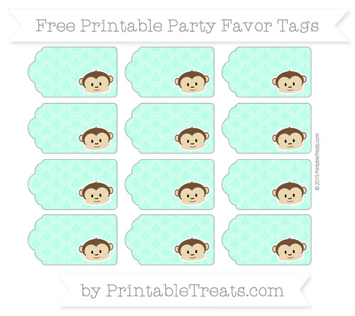 Free Aquamarine Fish Scale Pattern Boy Monkey Party Favor Tags