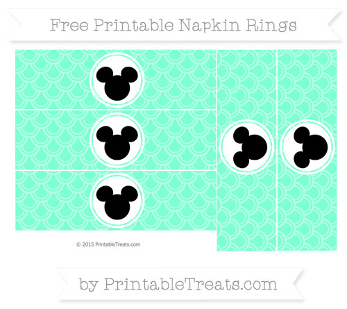 Free Aquamarine Fish Scale Pattern Mickey Mouse Napkin Rings