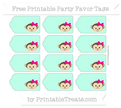 Free Aquamarine Girl Monkey Party Favor Tags
