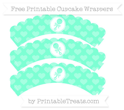 Free Aquamarine Heart Pattern Baby Rattle Scalloped Cupcake Wrappers