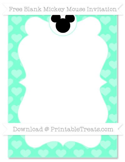 Free Aquamarine Heart Pattern Blank Mickey Mouse Invitation