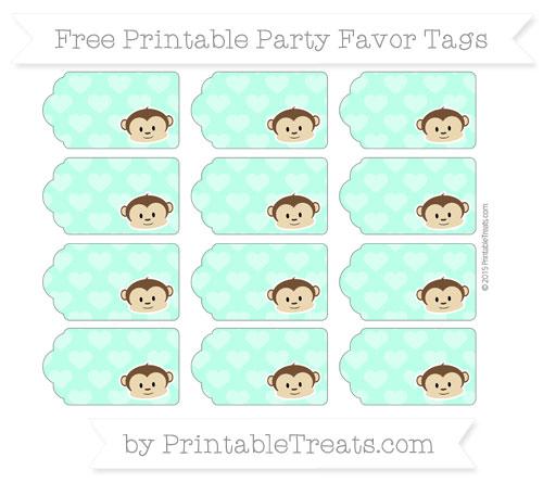 Free Aquamarine Heart Pattern Boy Monkey Party Favor Tags