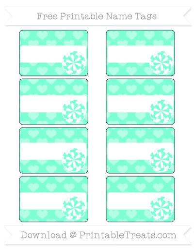 Free Aquamarine Heart Pattern Cheer Pom Pom Tags