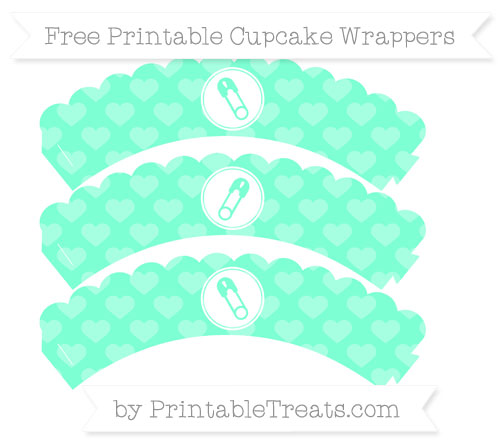 Free Aquamarine Heart Pattern Diaper Pin Scalloped Cupcake Wrappers
