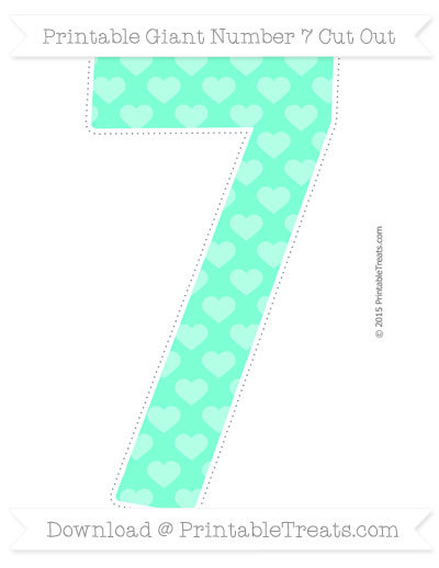 Free Aquamarine Heart Pattern Giant Number 7 Cut Out