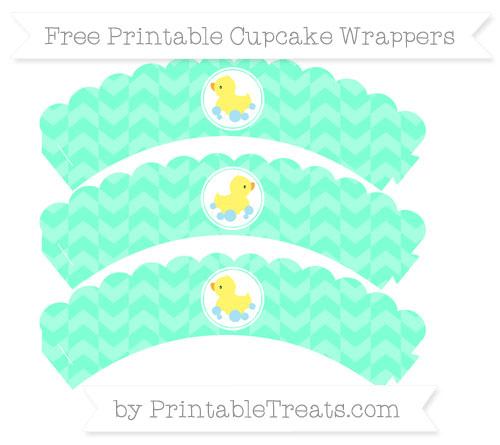 Free Aquamarine Herringbone Pattern Baby Duck Scalloped Cupcake Wrappers