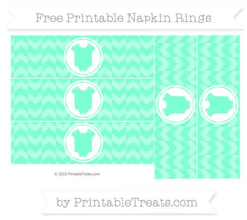 Free Aquamarine Herringbone Pattern Baby Onesie Napkin Rings
