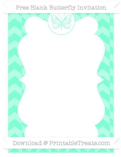 Free Aquamarine Herringbone Pattern Blank Butterfly Invitation