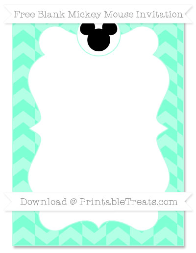 Free Aquamarine Herringbone Pattern Blank Mickey Mouse Invitation