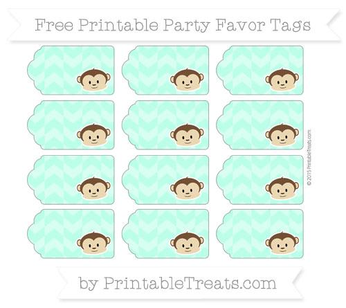 Free Aquamarine Herringbone Pattern Boy Monkey Party Favor Tags