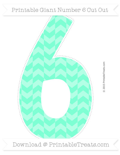 Free Aquamarine Herringbone Pattern Giant Number 6 Cut Out