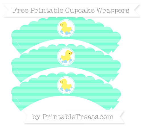 Free Aquamarine Horizontal Striped Baby Duck Scalloped Cupcake Wrappers