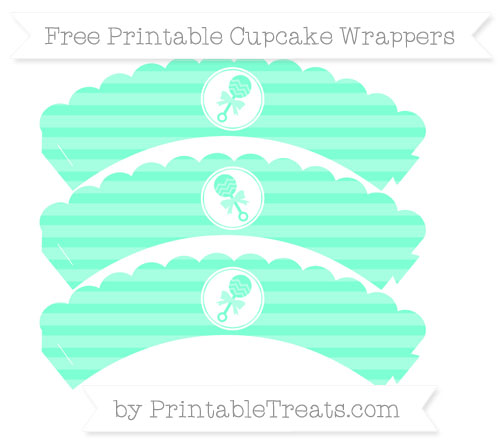 Free Aquamarine Horizontal Striped Baby Rattle Scalloped Cupcake Wrappers