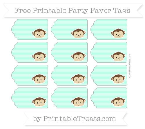 Free Aquamarine Horizontal Striped Boy Monkey Party Favor Tags