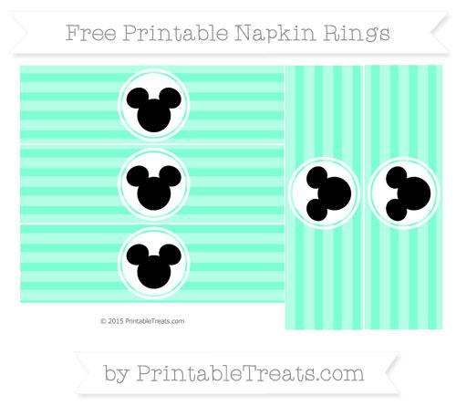 Free Aquamarine Horizontal Striped Mickey Mouse Napkin Rings