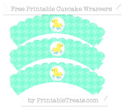 Free Aquamarine Houndstooth Pattern Baby Duck Scalloped Cupcake Wrappers