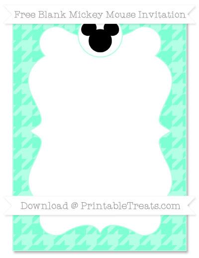 Free Aquamarine Houndstooth Pattern Blank Mickey Mouse Invitation