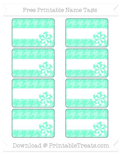 Free Aquamarine Houndstooth Pattern Cheer Pom Pom Tags