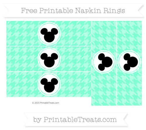 Free Aquamarine Herringbone Pattern Mickey Mouse Napkin Rings