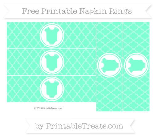 Free Aquamarine Moroccan Tile Baby Onesie Napkin Rings