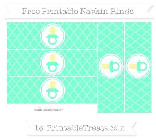 Free Aquamarine Moroccan Tile Baby Pacifier Napkin Rings
